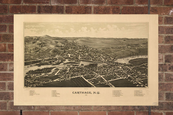Vintage Carthage Print, Aerial Carthage Photo, Vintage Carthage NY Pic, Old Carthage Photo, Carthage New York Poster, 1888