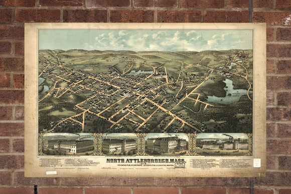 North Attleborough Massachusetts Vintage Print Poster Map 1878 Poster of MA Map Art Wall Decor