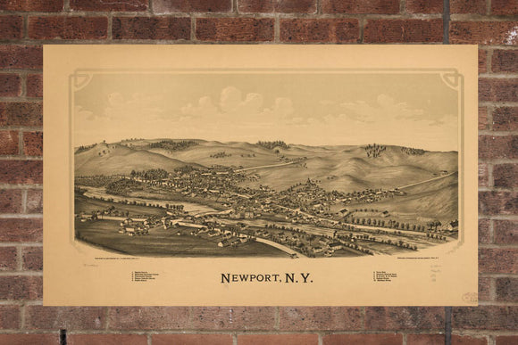 Vintage Newport Print, Aerial Newport Photo, Vintage Newport NY Pic, Old Newport Photo, Newport New York Poster, 1890