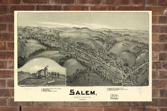 Vintage Salem Print, Aerial Salem Photo, Vintage Salem VA Pic, Old Salem Photo, Salem West Virginia Poster, 1899