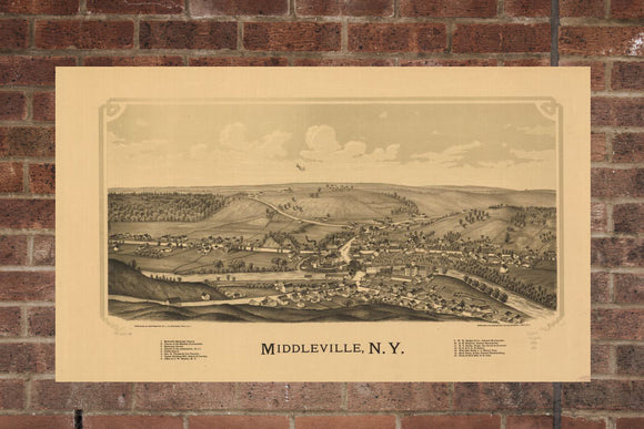 Vintage Middleville Print, Aerial Middleville Photo, Vintage Middleville NY Pic, Old Middleville Photo, Middleville New York Poster, 1890