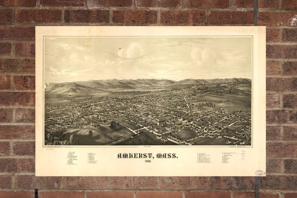 Vintage Amherst Print, Aerial Amherst Photo, Vintage Amherst MA Pic, Old Amherst Photo, Amherst Massachusetts Poster, 1886