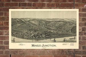 Vintage Mingo Junction Print, Aerial Mingo Junction Photo, Vintage Mingo Junction OH Pic, Old Mingo Junction Pic, Mingo Junction Ohio Poster