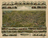 Vintage Webster Print, Aerial Webster Photo, Vintage Webster MA Pic, Old Webster Photo, Webster Massachusetts Poster, 1892