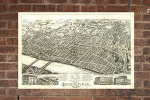 Vintage Springfield Print, Aerial Springfield Photo, Vintage Springfield MA Pic, Old Springfield Photo, Springfield Massachusetts Poster