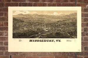 Vintage Middlebury Print, Aerial Middlebury Photo, Vintage Middlebury VT Pic, Old Middlebury Photo, Middlebury Vermont Poster, 1886