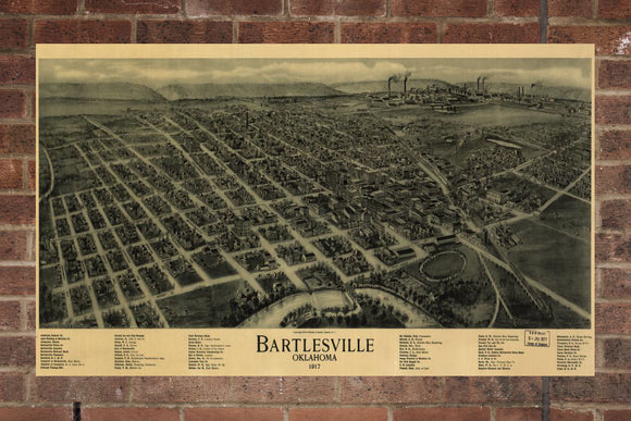 Vintage Bartlesville Print, Aerial Bartlesville Photo, Vintage Bartlesville OK Pic, Old Bartlesville Photo, Bartlesville Oklahoma Poster