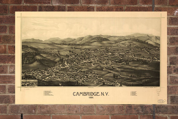 Vintage Cambridge Print, Aerial Cambridge Photo, Vintage Cambridge NY Pic, Old Cambridge Photo, Cambridge New York Poster, 1886