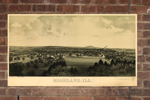 Vintage Highland Print, Aerial Highland Photo, Vintage Highland IL Pic, Old Highland Photo, Highland Illinois Poster, 1894