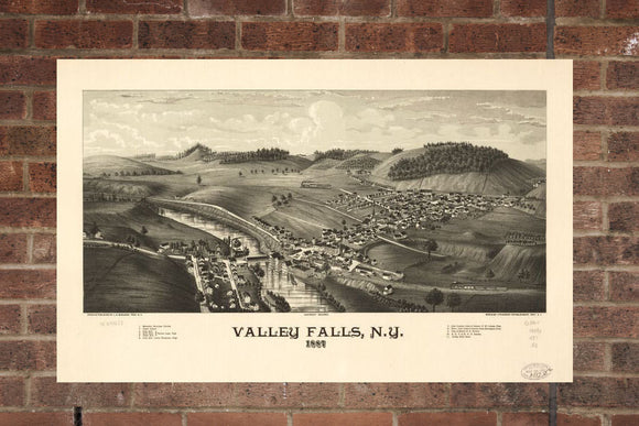 Vintage Valley Falls Print, Aerial Valley Falls Photo, Vintage Valley Falls NY Pic, Old Valley Falls Photo, Valley Falls New York Poster