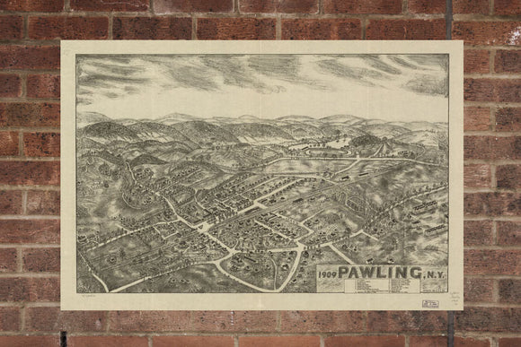Vintage Pawling Print, Aerial Pawling Photo, Vintage Pawling MD Pic, Old Pawling Photo, Pawling New York Poster, 1909