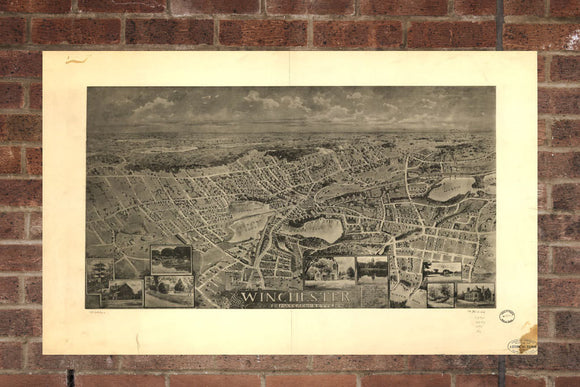 Vintage Winchester Print, Aerial Winchester Photo, Vintage Winchester MA Pic, Old Winchester Photo, Winchester Massachusetts Poster, 1898
