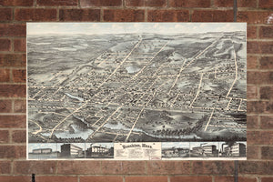 Vintage Brockton Print, Aerial Brockton Photo, Vintage Brockton MA Pic, Old Brockton Photo, Brockton Massachusetts Poster, 1878