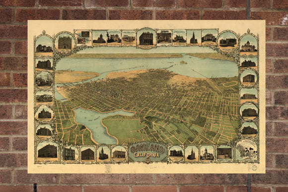 Vintage Oakland Print, Aerial Oakland Photo, Vintage Oakland CA Pic, Old Oakland Photo, Oakland California Poster, 1900