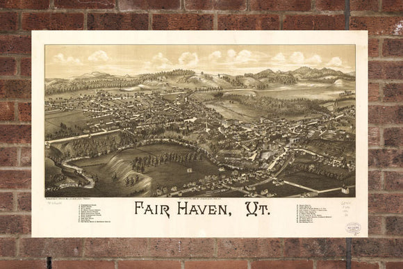 Vintage Fair Haven Print, Aerial Fair Haven Photo, Vintage Fair Haven VT Pic, Old Fair Haven Photo, Fair Haven Vermont Poster, 1886