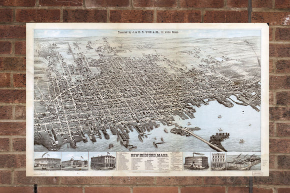 Vintage New Bedford Print, Aerial New Bedford Photo, Vintage New Bedford MA Pic, Old New Bedford Photo, New Bedford Massachusetts Poster