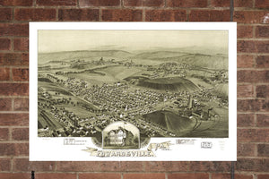 Vintage Edwardsville Print, Aerial Edwardsville Photo, Vintage Edwardsville PA Pic, Old Edwardsville Photo, Edwardsville Pennsylvania Poster