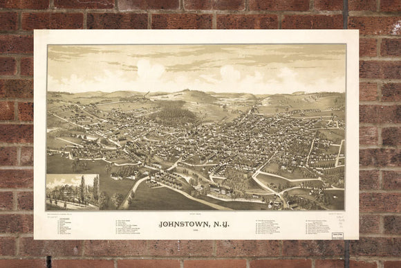 Vintage Johnstown Print, Aerial Johnstown Photo, Vintage Johnstown NY Pic, Old Johnstown Photo, Johnstown New York Poster, 1888