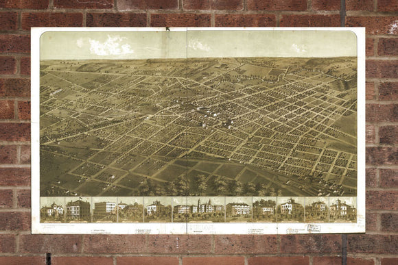Vintage Adrian Print, Aerial Adrian Photo, Vintage Adrian MI Pic, Old Adrian Photo, Adrian Michigan Poster, 1866