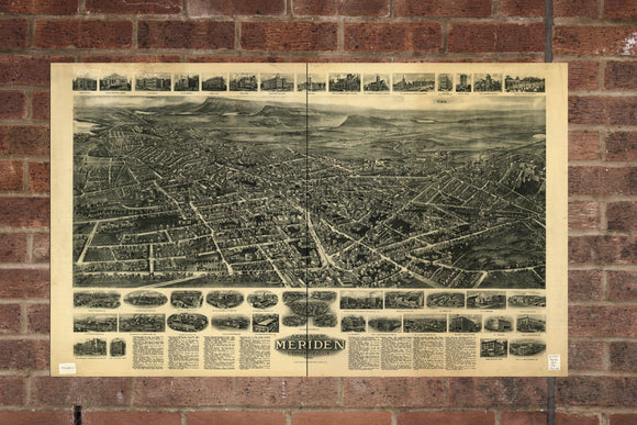 Vintage Meriden Print, Aerial Meriden Photo, Vintage Meriden CT Pic, Old Meriden Photo, Meriden Connecticut Poster, 1918
