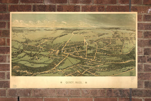 Vintage Quincy Print, Aerial Quincy Photo, Vintage Quincy MA Pic, Old Quincy Photo, Quincy Massachusetts Poster, 1877