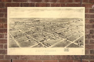 Vintage Jefferson Print, Aerial Jefferson Photo, Vintage Jefferson OH Pic, Old Jefferson Photo, Jefferson Ohio Poster, 1901