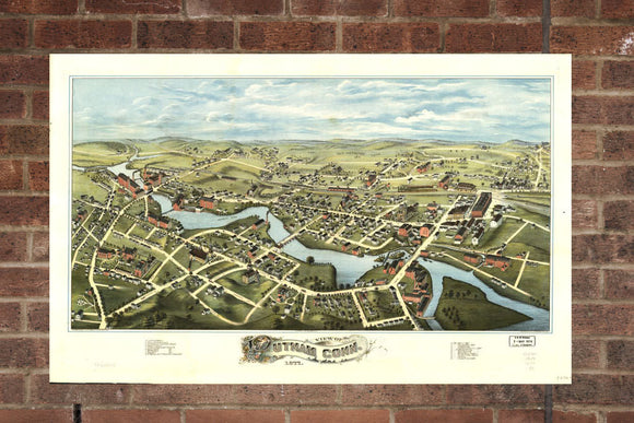 Vintage Putnam Print, Aerial Putnam Photo, Vintage Putnam CT Pic, Old Putnam Photo, Putnam Connecticut Poster, 1877