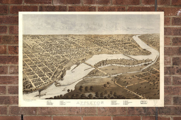 Vintage Appleton Print, Aerial Appleton Photo, Vintage Appleton WI Pic, Old Appleton Photo, Appleton Wisconsin Poster, 1867