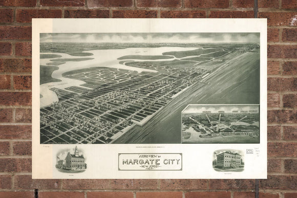Vintage Margate Print, Aerial Margate Photo, Vintage Margate NJ Pic, Old Margate Photo, Margate New Jersey Poster, 1925
