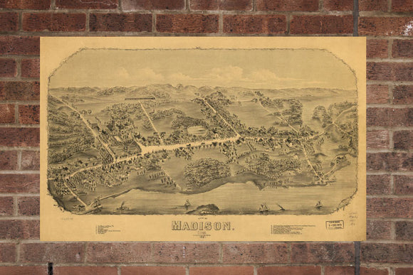 Vintage Madison Print, Aerial Madison Photo, Vintage Madison CT Pic, Old Madison Photo, Madison Connecticut Poster, 1881