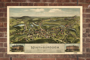 Vintage Northborough Print, Aerial Northborough Photo, Vintage Northborough MA Pic, Old Northborough Pic, Northborough Massachusetts Poster