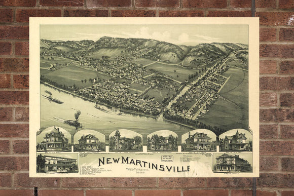 New Martinsville  West Virginia Vintage Print Poster Map 1899 Poster of WV Map Art Wall Decor