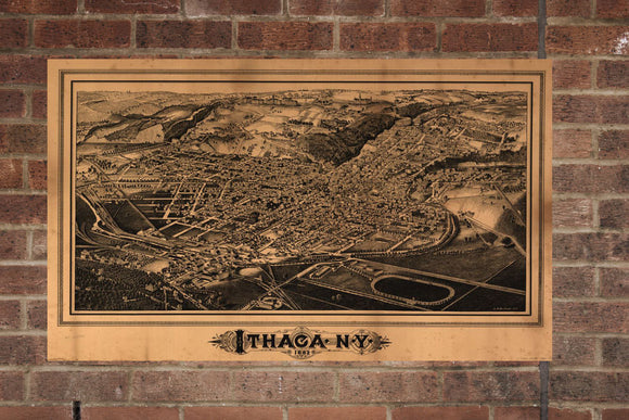 Vintage Ithaca Print, Aerial Ithaca Photo, Vintage Ithaca NY Pic, Old Ithaca Photo, Ithaca New York Poster, 1882