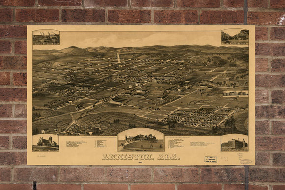 Vintage Anniston Print, Aerial Anniston Photo, Vintage Anniston AL Pic, Old Anniston Photo, Anniston Alabama Poster, 1887