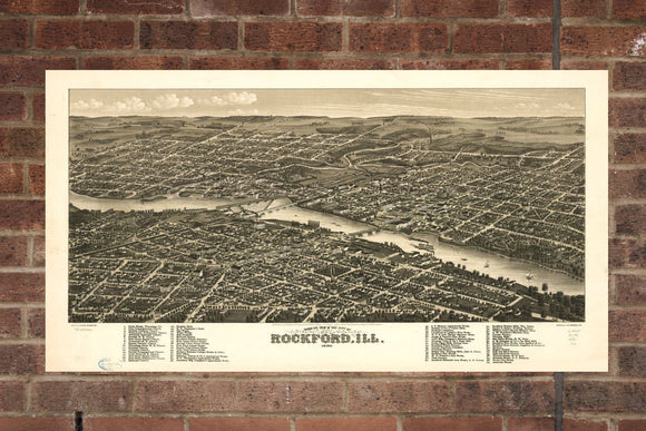Vintage Rockford Print, Aerial Rockford Photo, Vintage Rockford IL Pic, Old Rockford Photo, Rockford Illinois Poster, 1880