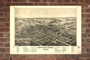 Vintage Bowling Green Print, Aerial Bowling Green Photo, Vintage Bowling Green OH Pic, Old Bowling Green Photo, Bowling Green Ohio Poster