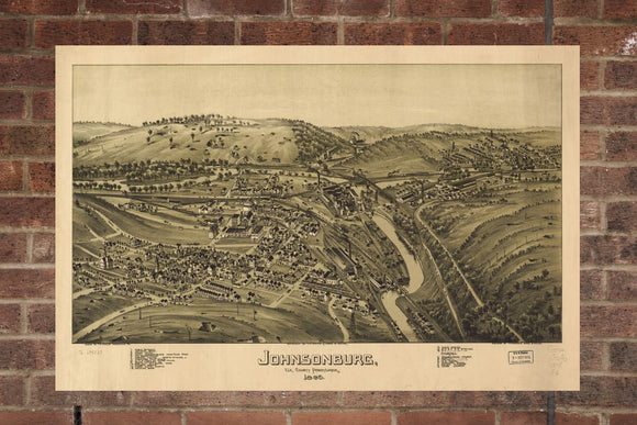 Vintage Johnsonburg Print, Aerial Johnsonburg Photo, Vintage Johnsonburg PA Pic, Old Johnsonburg Photo, Johnsonburg Pennsylvania Poster