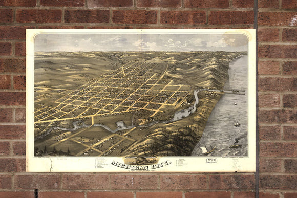Vintage Michigan City Print, Aerial Michigan City Photo, Vintage Michigan City IN Pic, Old Michigan City Photo, Michigan City Indiana Poster