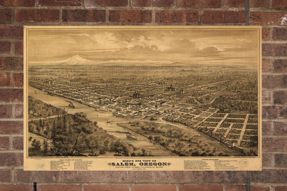 Vintage Salem Print, Aerial Salem Photo, Vintage Salem OR Pic, Old Salem Photo, Salem Oregon Poster, 1876