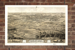 Vintage Chillicothe Print, Aerial Chillicothe Photo, Vintage Chillicothe MO Pic, Old Chillicothe Photo, Chillicothe Missouri Poster, 1869