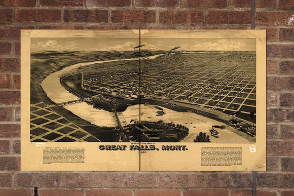 Vintage Great Falls Print, Aerial Great Falls Photo, Vintage Great Falls MT Pic, Old Great Falls Photo, Great Falls Montana Poster, 1891