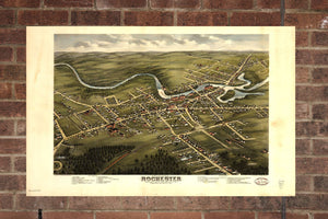 Vintage Rochester Print, Aerial Rochester Photo, Vintage Rochester NH Pic, Old Rochester Photo, Rochester New Hampshire Poster, 1877