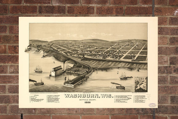 Vintage Washburn Print, Aerial Washburn Photo, Vintage Washburn WI Pic, Old Washburn Photo, Washburn Wisconsin Poster, 1886