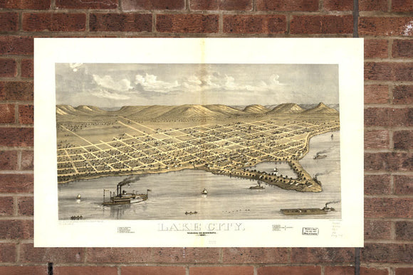 Vintage Lake City Print, Aerial Lake City Photo, Vintage Lake City MN Pic, Old Lake City Photo, Lake City Minnesota Poster, 1867