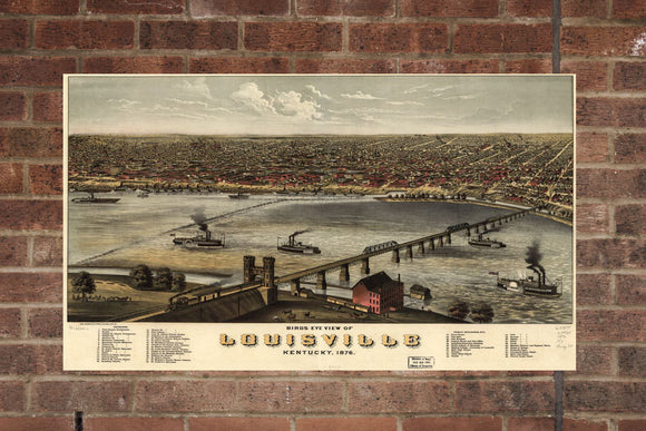 Vintage Louisville Print, Aerial Louisville Photo, Vintage Louisville KY Pic, Old Louisville Photo, Louisville Kentucky Poster, 1876