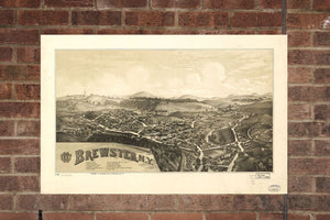 Vintage Brewster Print, Aerial Brewster Photo, Vintage Brewster NY Pic, Old Brewster Photo, Brewster New York Poster, 1887