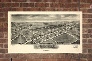 Vintage Bernville Print, Aerial Bernville Photo, Vintage Bernville PA Pic, Old Bernville Photo, Bernville Pennsylvania Poster, 1898