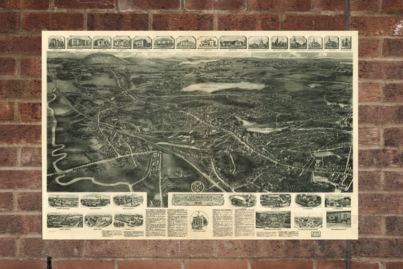 Vintage Canton Print, Aerial Canton Photo, Vintage Canton MA Pic, Old Canton Photo, Canton Massachusetts Poster, 1918