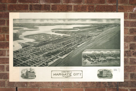 Vintage Margate City Print, Aerial Margate City Photo, Vintage Margate City NJ Pic, Old Margate City Photo, Margate City New Jersey Poster