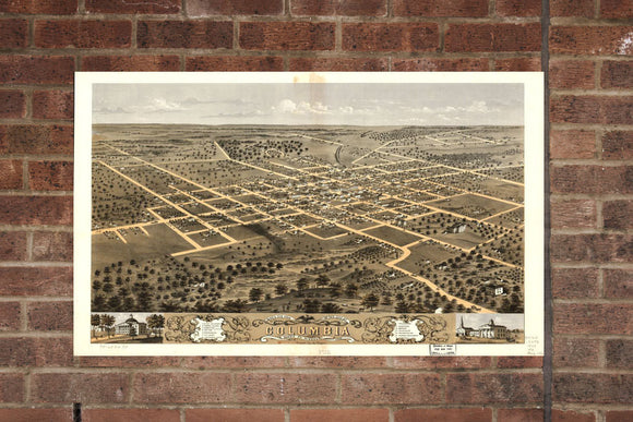 Vintage Columbia Print, Aerial Columbia Photo, Vintage Columbia MO Pic, Old Columbia Photo, Columbia Missouri Poster, 1869